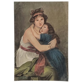 """Young Mother and Daughter"" Portrait Pastel Painting, Early to Mid 20th Century For Sale"