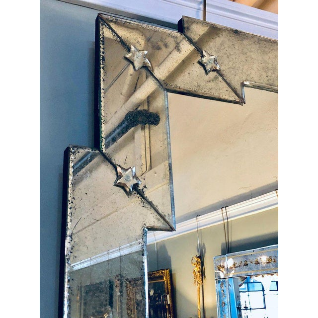 Late 20th Century Art Deco Style Venetian Wall Console Mirror Distressed Frame Border Clear Center For Sale - Image 5 of 13