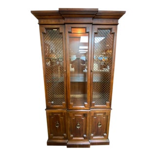 Mid 20th Century Braverman Traditional Two Piece China Cabinet For Sale