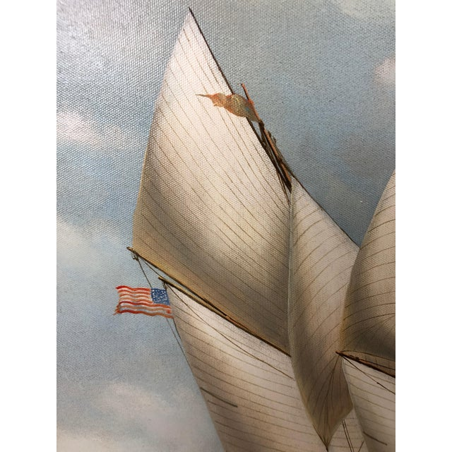 White Realist Painting of Sailing Vessels by Cooper For Sale - Image 8 of 13