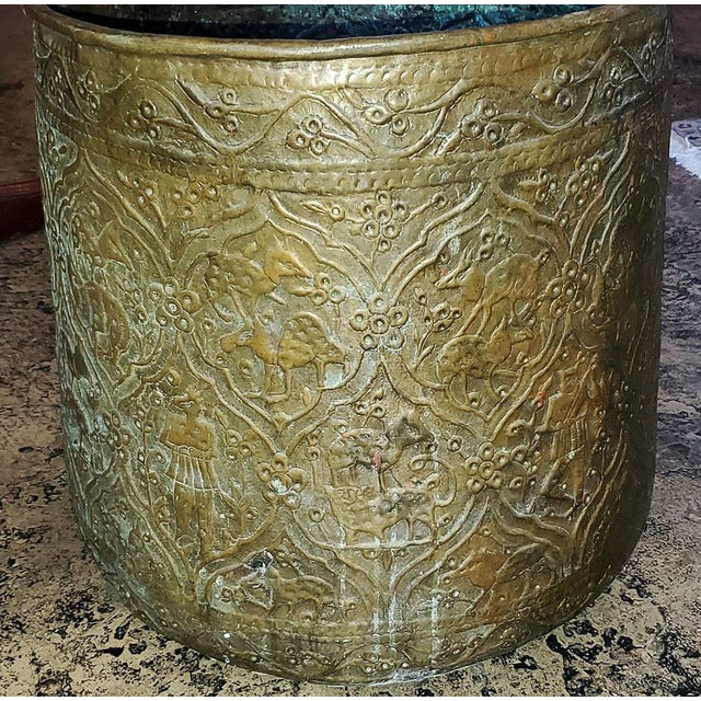 18th Century Ornate Middle Eastern Bronze Bin For Sale - Image 4 of 13