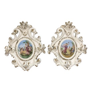Vintage French Porcelain Medallion Wall Plaques - a Pair For Sale