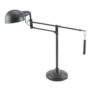 Black Adjustable Weighted Desk Lamp For Sale