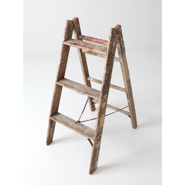 Vintage Wooden Folding Ladder For Sale - Image 6 of 11