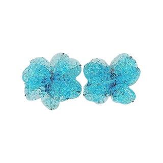 1960s Italian Blue Blown Glass Flower Earrings For Sale