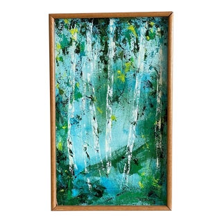 1960s Abstract Expressionist Landscape Oil Painting by Harriet Rosendale, Framed For Sale
