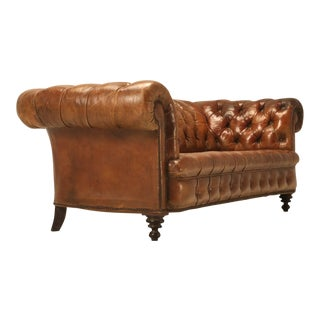 Antique Leather Chesterfield Sofa in Original Leather For Sale