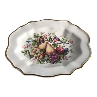 1970's Enoch Wedgwood Gilded Ceramic Oval Dish For Sale