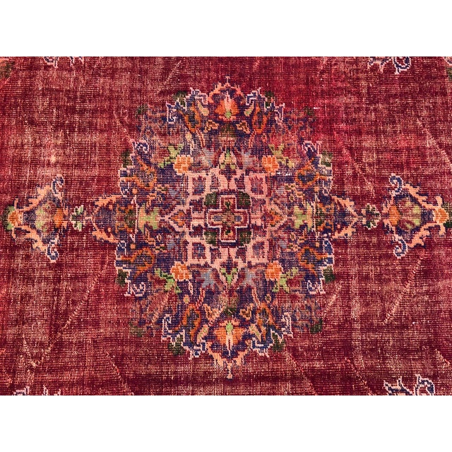 1960s Antique Handwoven Turkish Red Wool Oversize Rug - 7′1″ × 9′10″ For Sale - Image 5 of 9