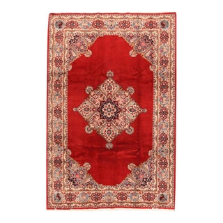 Antique Hand Knotted Persian Qum Rug For Sale