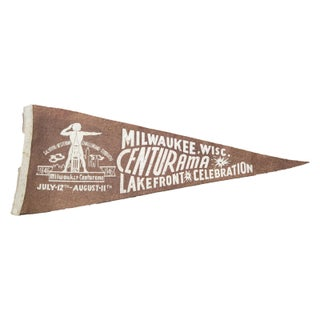 Vintage Milwaukee Wisconsin Centurama Felt Flag