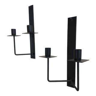 Pair of Mid-Century Modern Iron Wall Candleholders For Sale