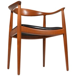 Early Hans Wegner for Johannes Hansen Jh-503 Chair in Teak and Leather For Sale