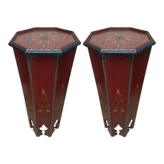 Pair of Hand-Painted Moroccan Pedestal Octagonal Shape Table With Moorish Arches
