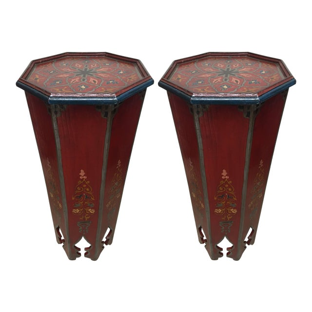 Pair of Hand-Painted Moroccan Pedestal Octagonal Shape Table With Moorish Arches For Sale
