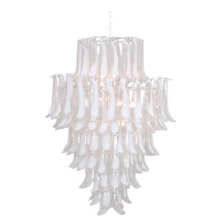 Oversized Murano Glass Tulipani or Feather Chandelier Attributed to Mazzega For Sale