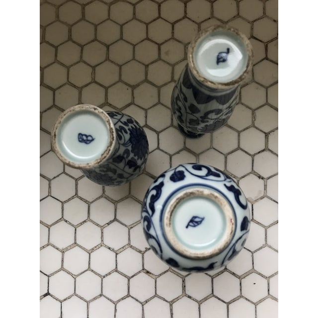 Blue & White Porcelain Vases - Set of 3 For Sale - Image 9 of 9
