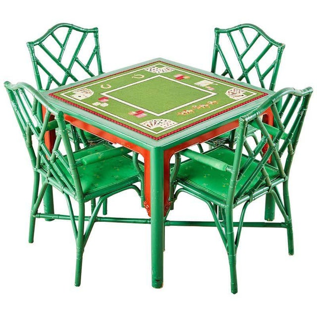 Baker Trompe l'Oeil Card Table With Rattan Armchairs For Sale - Image 13 of 13