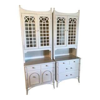 Vintage Thomasville Pagoda Lattice Bookcases-Pair For Sale