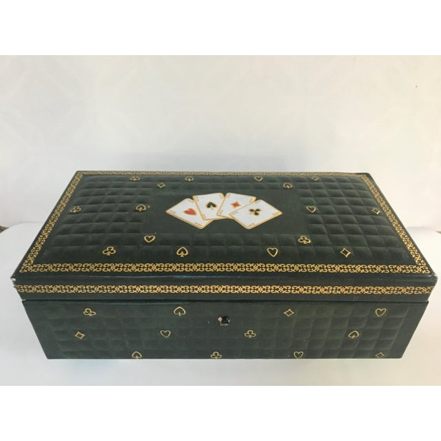 1950s Vintage Italian Quilted Green Card / Game Box For Sale - Image 13 of 13