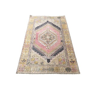 1960s Multicolor Faded Turkish Oushak Wool Rug-3′7″ × 6′ For Sale