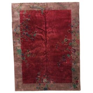 1920s Hand Made Antique Art Deco Chinese Rug 8.10' X 11.6' For Sale