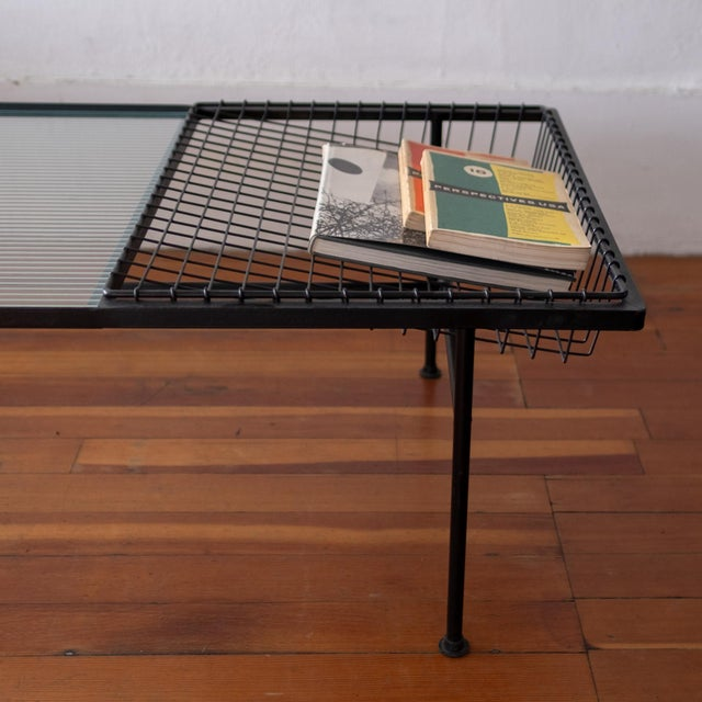 Mid Century Modern Iron Coffee Table With Magazine Holder For Sale - Image 9 of 13