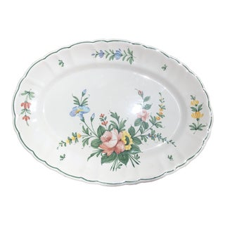 Italian Floral Hand Painted Porcelain Serving Platter Trifles Italy Cheese Fruit Vegetable Tray For Sale