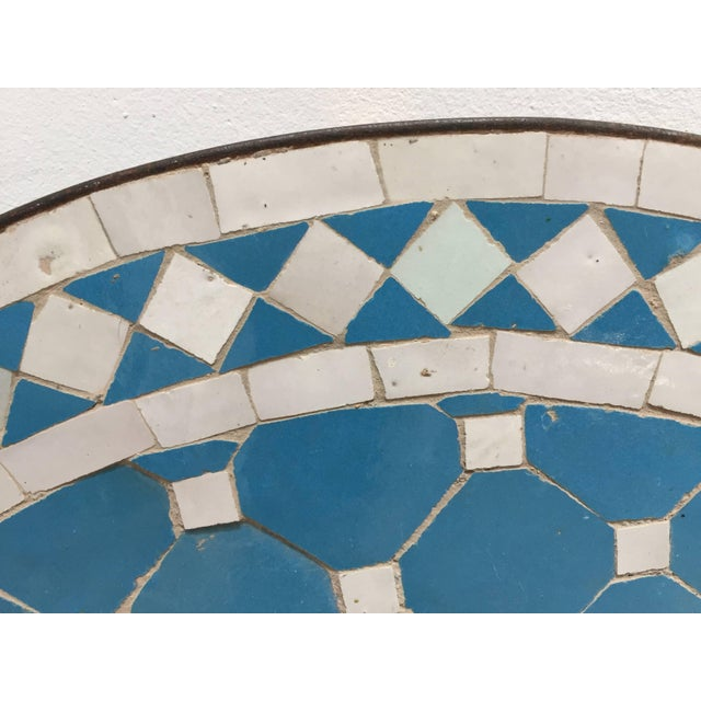 Moroccan Mosaic Outdoor Blue Tile Side Table on Low Iron Base For Sale - Image 9 of 13