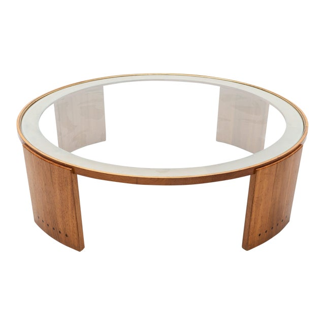 1950s French Oak and Glass Coffee Table With Elegant Details For Sale
