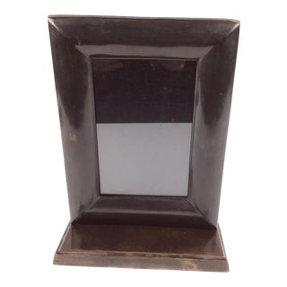 1920s Art Deco Era Hand Formed Solid Bronze Photo Frame For Sale