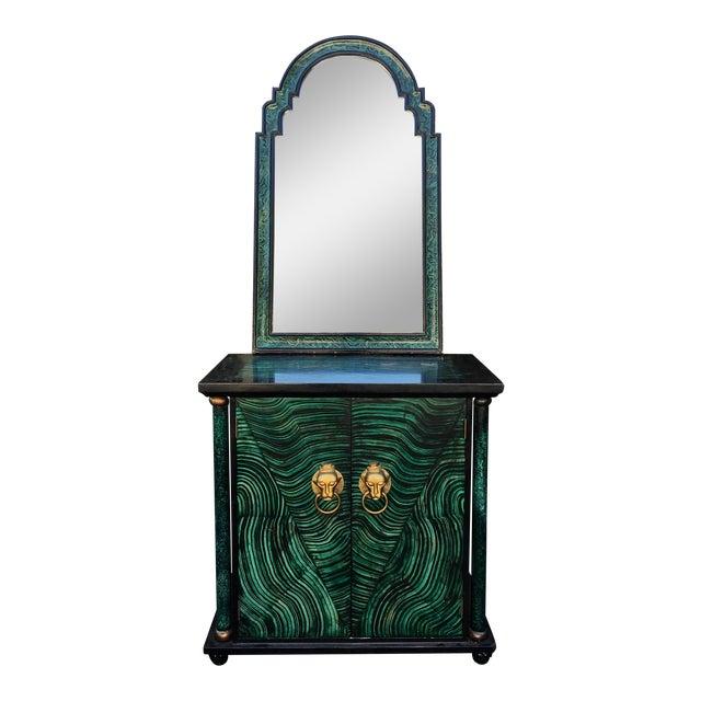 Vintage Mid Century Modern Faux Malachite Cabinet & Mirror - Image 1 of 8