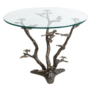 Bronze Tree & Birds Coffee Table by Willy Daro, 1970s For Sale