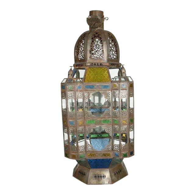 Vintage Moorish Glass Lantern From Marrakech For Sale