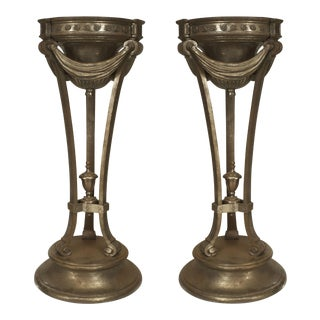 Pair Of American Iron Art Deco Pedestal Planters For Sale