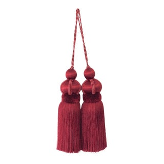 "Pair of Red Key Tassels With Cut Ruche, Tassel Height 5.75"" For Sale"