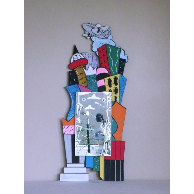 "1993 Post Modern Memphis ""Cityscape"" Hand Painted & Etched Mirror by Milano Mendini Sottsass For Sale - Image 4 of 4"