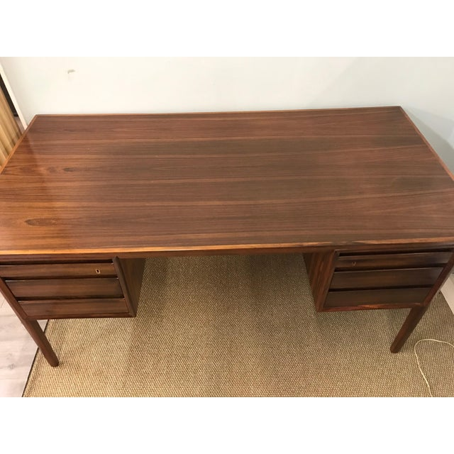 Mid-Century Modern Danish Rosewood Desk Writing Table For Sale - Image 4 of 10