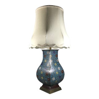 19th Century Japanese Ming-Style Champlevé Enamel Bronze Vase Mounted as Lamp For Sale