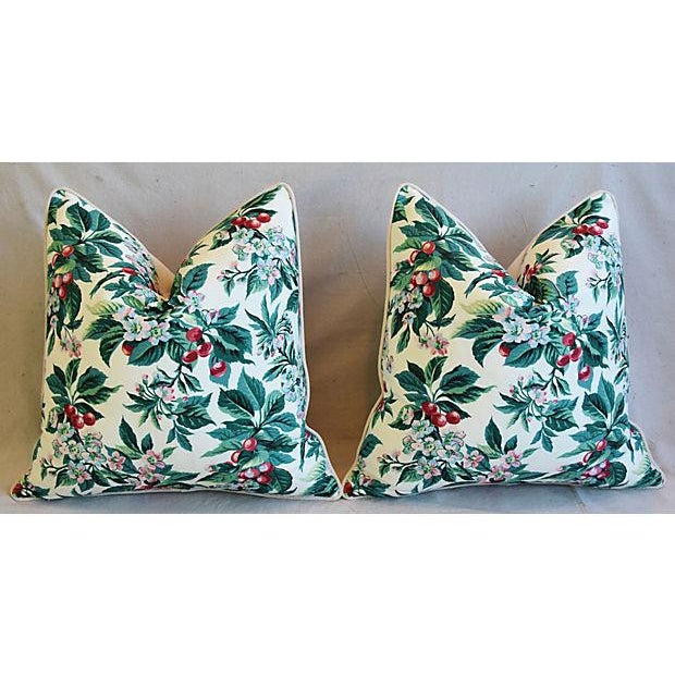 "Feather Custom Tailored Schumacher Cherry Blossom Feather/Down Pillows 23"" Square - Pair For Sale - Image 7 of 11"