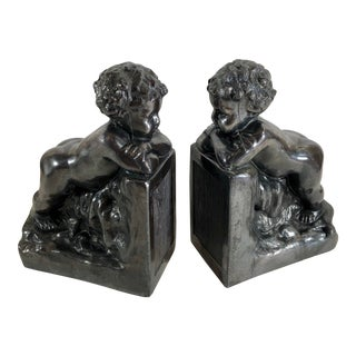 20th Century Vintage Tuscan Cast Metal Putti Angels Bookends - a Pair For Sale