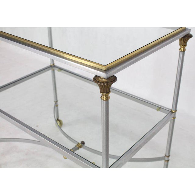Mid Century Modern Two-Tier Brass Chrome Glass Rectangular Serving Bar Cart For Sale - Image 4 of 9
