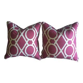 Custom Faux Bamboo Trellis Pink Pillow Covers- a Pair