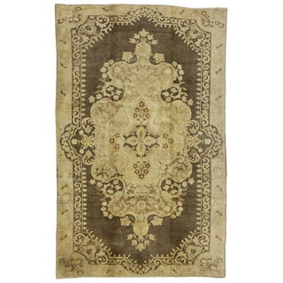 20th Century Turkish Oushak Rug With Warm, Neutral Colors - 6′11″ × 11′ For Sale