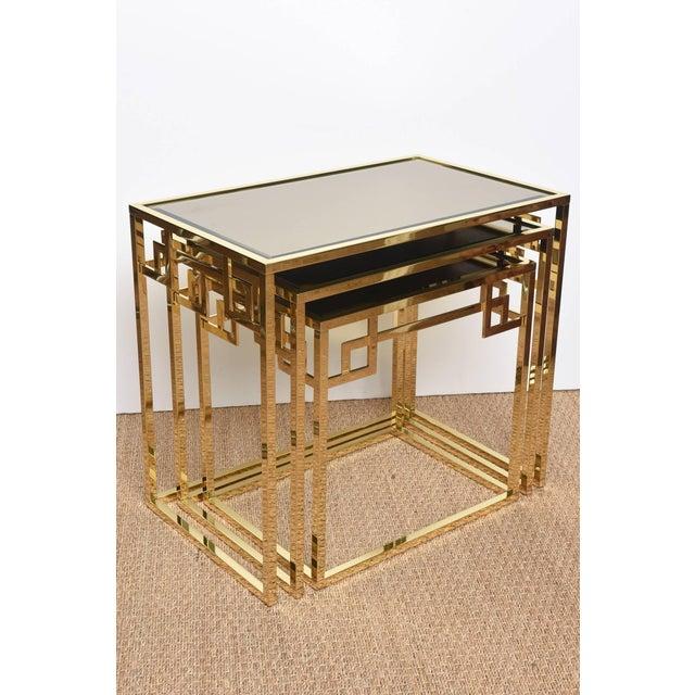Mid-Century Modern Italian Brass & Glass Greek Key Nesting Tables Final Markdown For Sale - Image 3 of 11