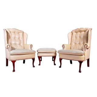 Leather Wingback Chairs with Ottoman - A Pair