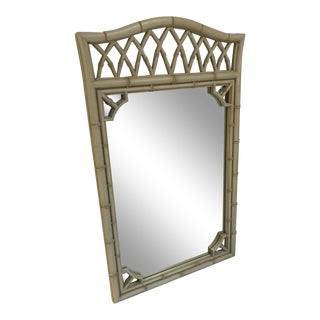 Vintage Chippendale Hollywood Regency Faux Bamboo Mirror For Sale