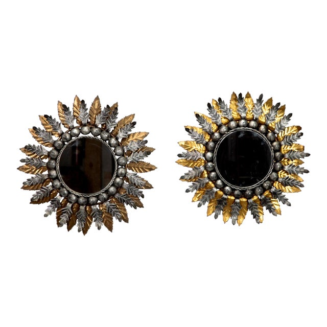 Spanish Gilt and Silver Metal Sunburst Mirrors - a Pair For Sale - Image 10 of 10