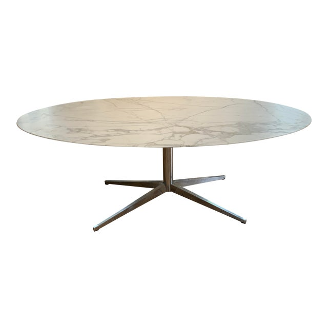 Oval Knoll Marble Top Dining Table For Sale