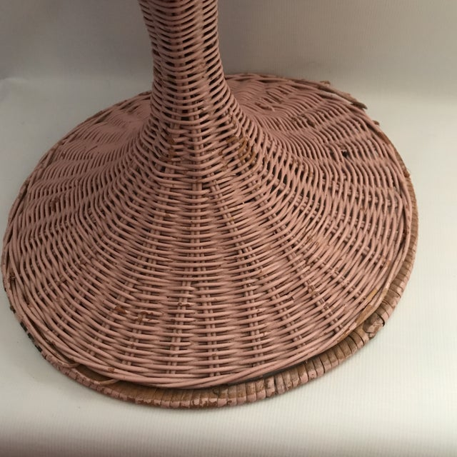 Pink Vintage Wicker Swivel Chair For Sale - Image 8 of 11